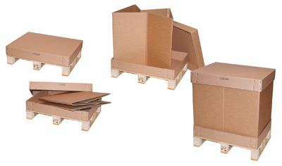 Cardboard boxes - On pallets.  Store flat packed and make up or delivered ready to load.